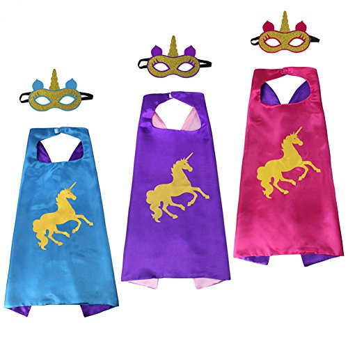 Christmas Dress Up Superhero Cosplay Costumes Set of 3 Unicorn Capes and Masks For Girls Kids -