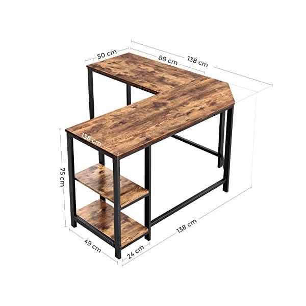 VASAGLE Bureau d'Angle, Table Informatique en Forme de L, Table d'étude, avec étagère de Rangement, pour Bureau à…