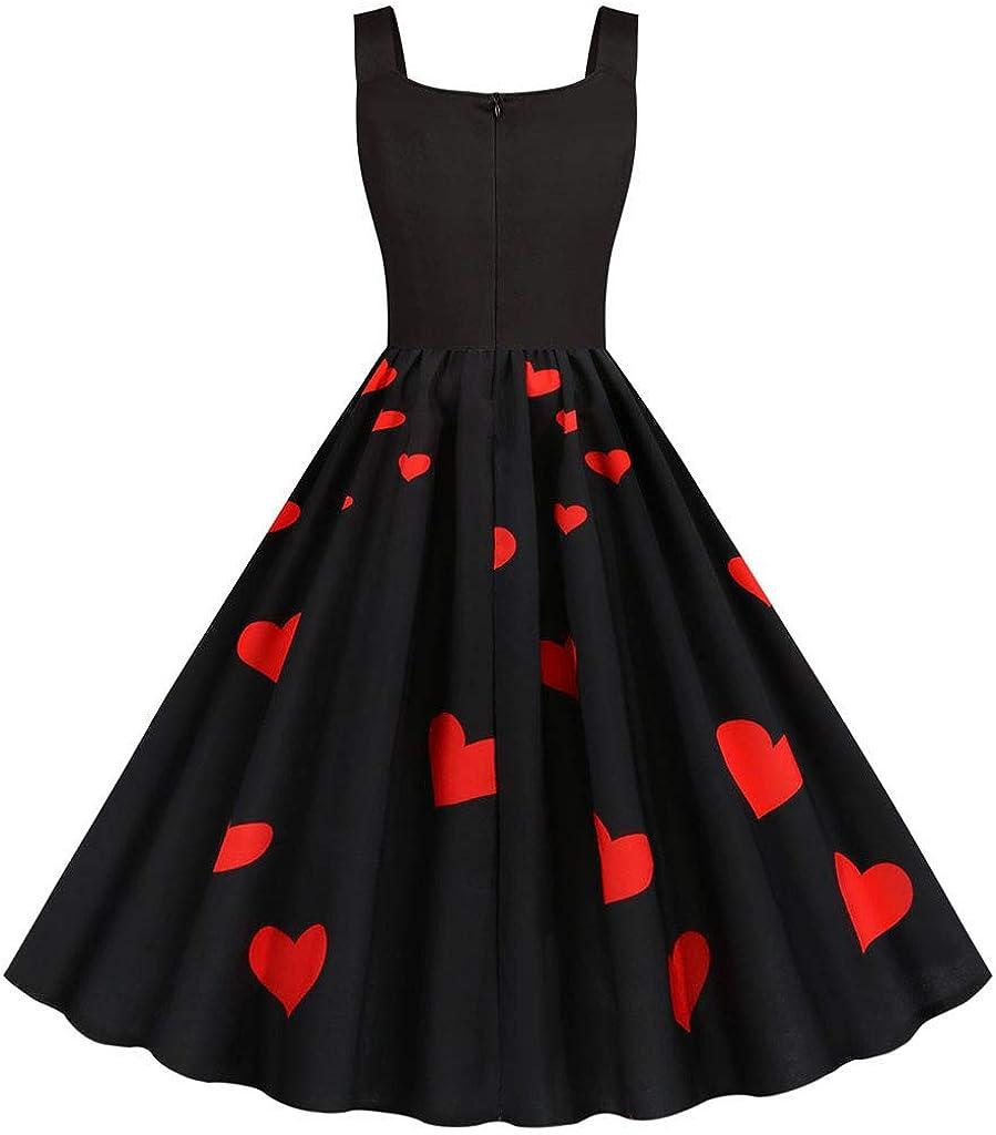 charmsamx Womens Valentines Day Dress Sleeveless Boatneck Swing Dress Love Heart Print Romantic Retro Cocktail Party Dresses Vintage Tea Dress Black S