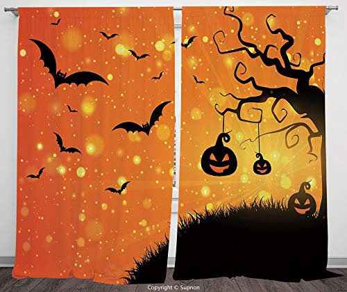 Rod Pocket Curtain Panel Polyester Translucent Curtains for Bedroom Living Room Dorm Kitchen Cafe/2 Curtain Panels/108 x 90 Inch/Halloween,Magical Fantastic Evil Night Icons Swirled Branches Haunted F -