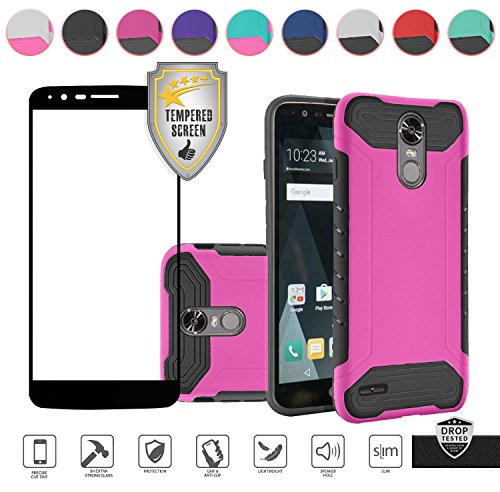 LG Stylo 3 Case, LG Stylo 3 Plus Case, with Tempered Glass Screen Protector, Ultra Slim Hybrid Dual Layer [Shockproof] [Easy Grip] Unique Urban Design Protective Case Cover (Hot (Hot Pink Protector Case)