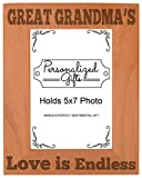 ThisWear Great Grandma's Love Natural Wood Engraved 5x7 Portrait Picture Frame Wood