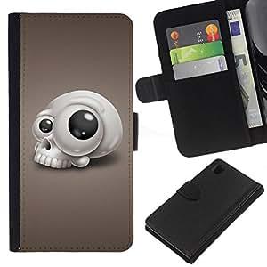 EJOY---La carpeta del tirón la caja de cuero de alta calidad de la PU Caso protector / Sony Xperia Z1 L39 / --Divertido goggly cráneo de ojos