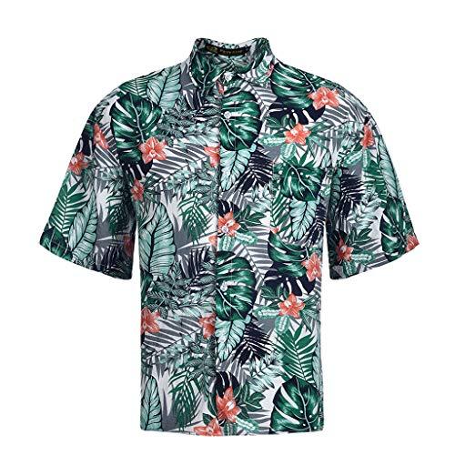 JJLIKER Mens Leaf Print Short Sleeve Shirt Beach Hawaiian Aloha Party Tops Tee Casual Pocket Button Down Shirts Green