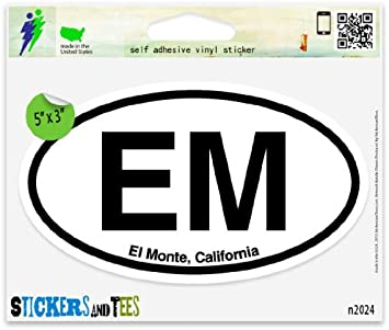 "EM El-Monte california Oval car window bumper sticker decal 5/"" x 3/"""