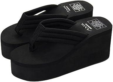black high heel flip flops