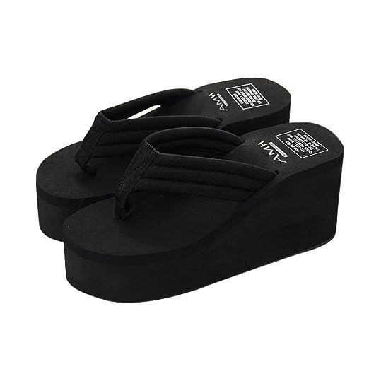 ad1a94d0a1c Sumen Women s Slipper-Young Girls High Heel Platform Wedge Flip-Flops  Sandals Summer Lightweight
