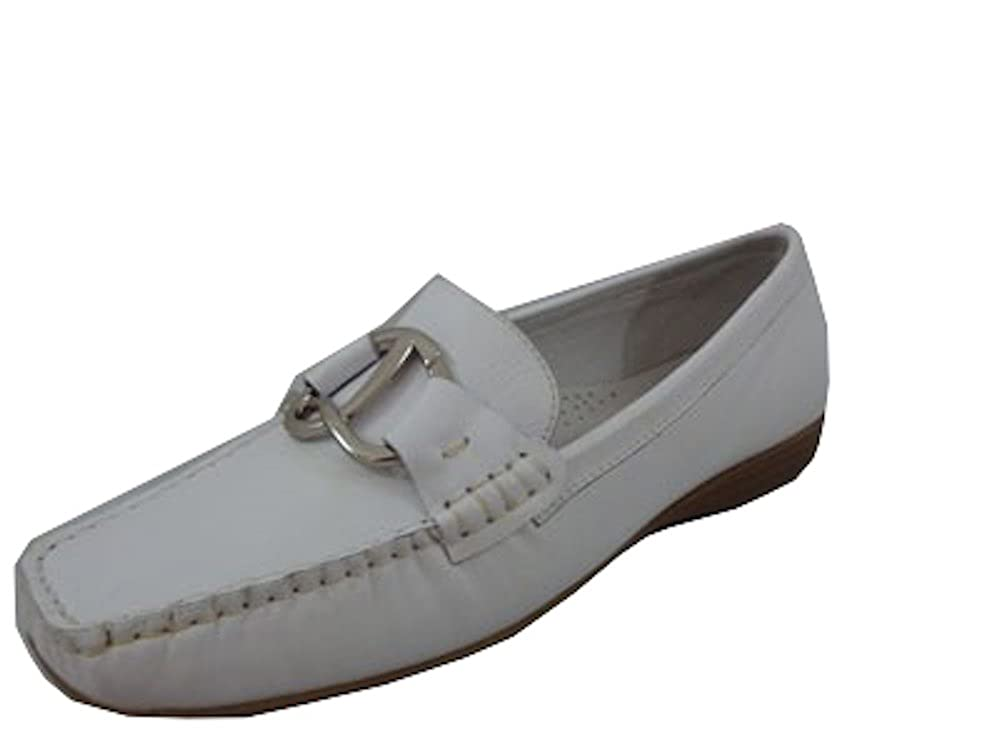 ALPE White Ladies Leather Mocassin/Loafers with Buckle Size 5.5/EU 39 Shoes & Bags