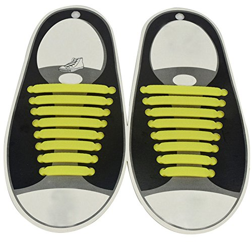WALLER PAA 16PCS 7 Colors No Tie Shoelaces Rubber Silicone Slip Easy Sneaker Shoe Laces (Yellow) (Air Jordan 7 Retro Cardinal)