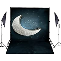 5Ft ×6.5 Ft (200 Cm×150 Cm) Night Moon Stars Wedding Cotton Collapsible Photography Backgrounds Photo Studio Backdrop