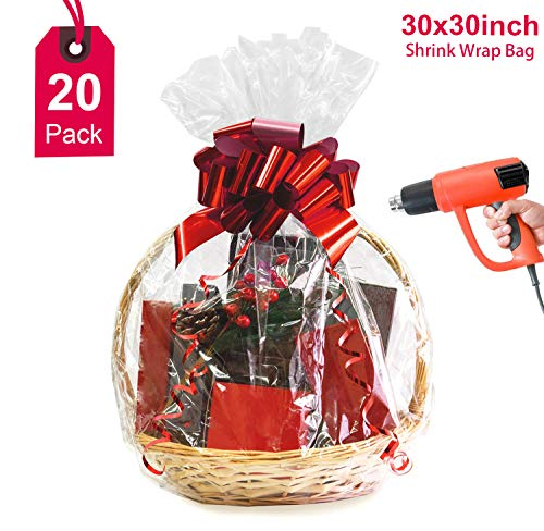Large Clear Basket Bag,Valentine's Day Cellophane Wrap Bags Shrink Wrap Bags Extra Thick 2.5mil Cello Bags for Valentine Party Supplies Gift Baskets, 30×30 inch (20Pack)