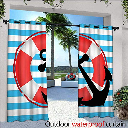 cobeDecor Anchor Patio Curtains Blue Striped Backdrop with Lifebuoy and Anchor Aboard Travel Protection Outdoor Curtain for Patio,Outdoor Patio Curtains W72 x L96 Sky Blue Red Black