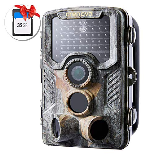 Crenova 20MP Hunting Trail Camera 32GB Card Included Updated to 47pc940nm IR LEDs and IP 66 Waterproof Game Camera 1080 P Motion Activated Night Vision Wildlife Cameras (Camouflage)
