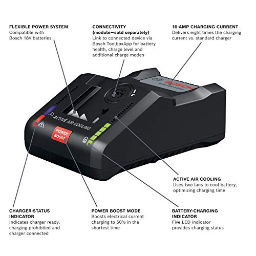 BOSCH GAL18V-160C 18V Connected-Ready Lithium-Ion 16 Amp Battery Turbo Charger with Power Boost