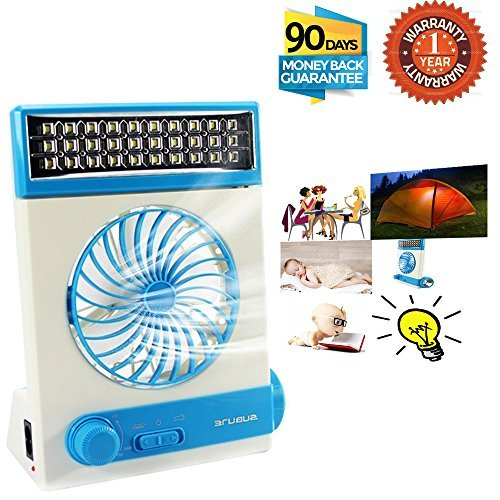 Portable Fan Solar Mini Fan LED Table Lamp 3 in 1 Multi-function Eye-Care Flashlight Light for Home Camping Solar Cooling Fans(Blue)