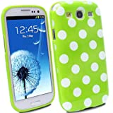 niceEshop Green/White Polka Dot Flex Gel TPU Case Cover fit for the new Samsung Galaxy S3 i9300 +2 Pcs Free Screen Protector +Free niceEshop Cable Tie