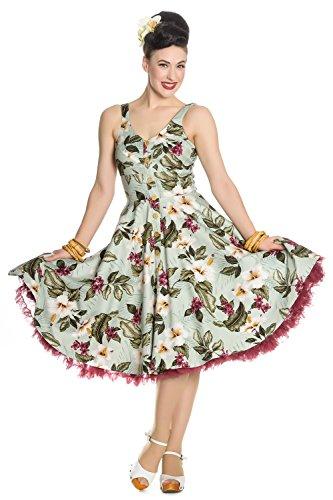 Hell 4XL XS Jahre Tropisches Bunny Kleid Tahiti 50er Vintage Grün 8aqSORw