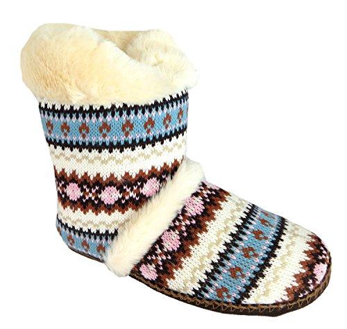 Dunlop Brianna Womens Nordic Boot Slippers Brown miywmPN90