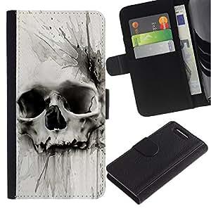 A-type (Death Watercolor Drawing Metal) Colorida Impresión Funda Cuero Monedero Caja Bolsa Cubierta Caja Piel Card Slots Para Sony Xperia Z3 Compact / Z3 Mini (Not Z3)
