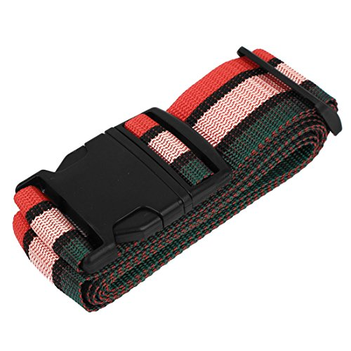 uxcell Stripe Pattern Side Release Buckle Luggage Suitcase Belt Strap 2M