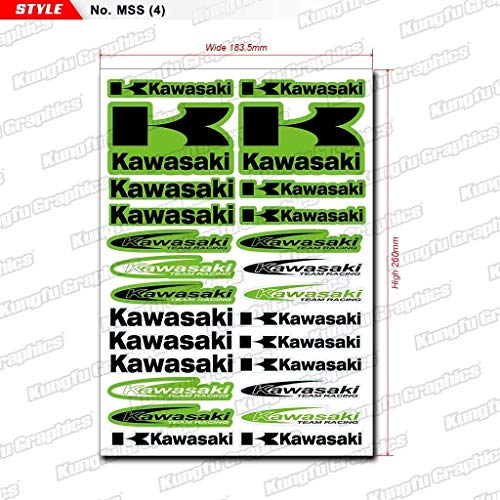 Kungfu Graphics Kawasaki K Micro Sponsor Logo Racing Sticker Sheet Universal (7.2x 10.2 inch), Green - Kawasaki Decals Racing