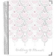 "bloom daily planners Undated Wedding Planner - Hard Cover Wedding Day Planner & Organizer - 9"" x 11"" - Silver Foil"