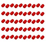 uxcell 50pcs 18mm Dia Red Rubber Thread Round Cabinet Chair Leg Insert Cover Protector