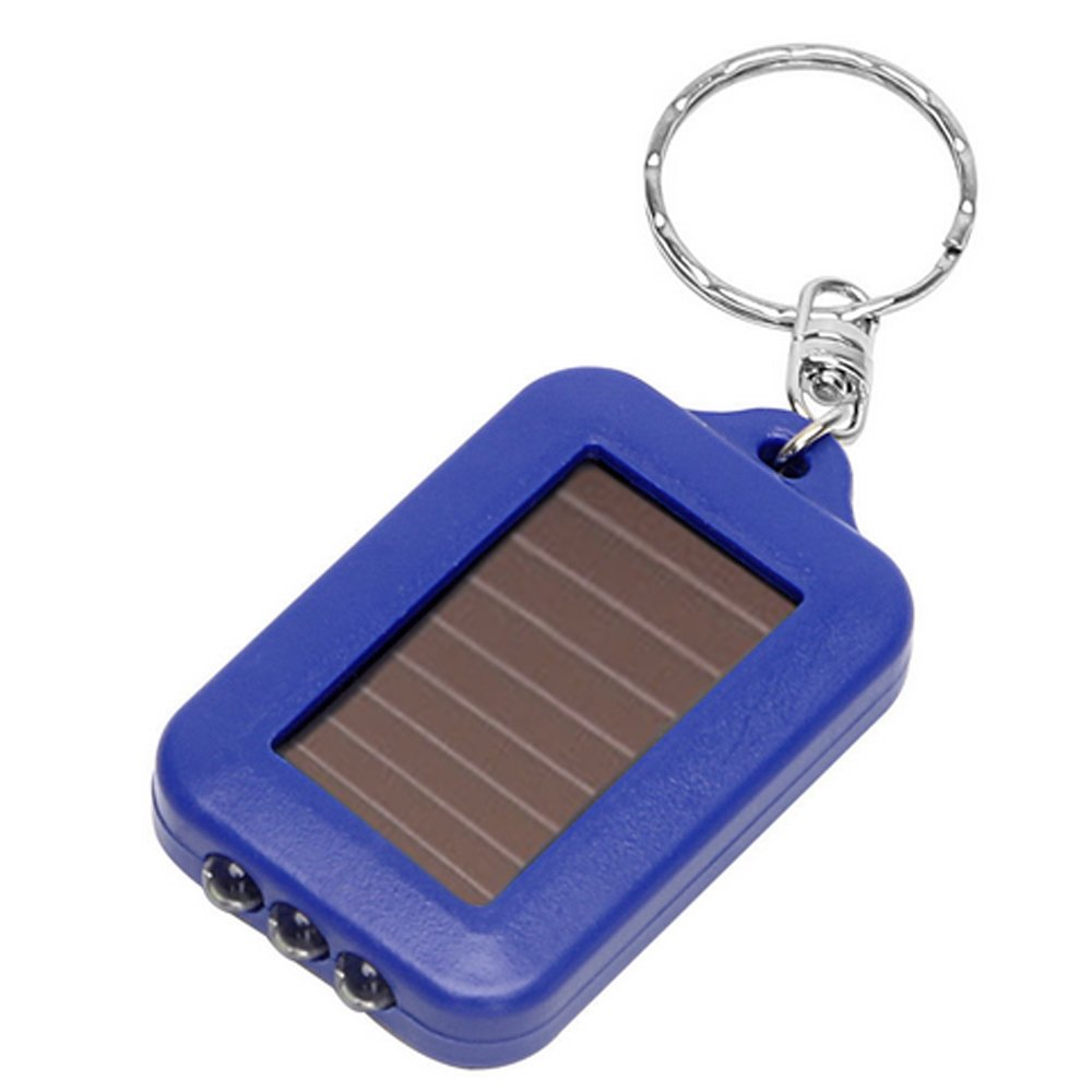 Merssavo Mini Solar Power Rechargeable 3LED Flashlight Keychain Light Torch Ring