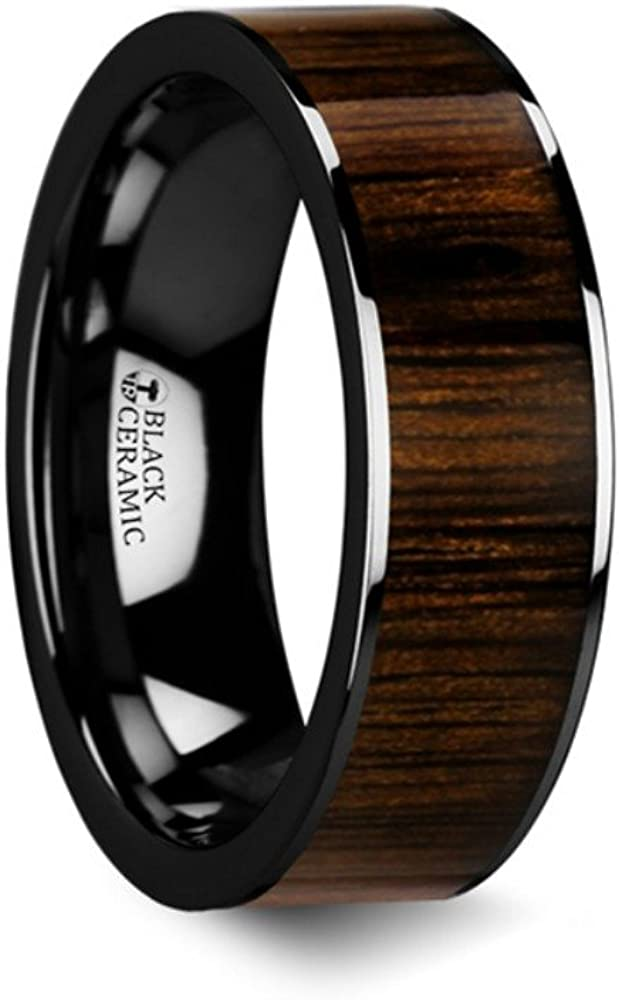 Thorsten ZEBRANO Black Ceramic Ring with Beveled Edge Wedding Band and Real Zebra Wood Inlay 4mm from Roy Rose Jewelry