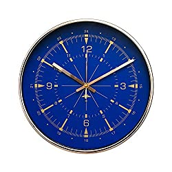 "Luxury Modern 12"" Silent Non-Ticking Wall Clock with Rose Gold Frame (Aviator Compass Blue)"