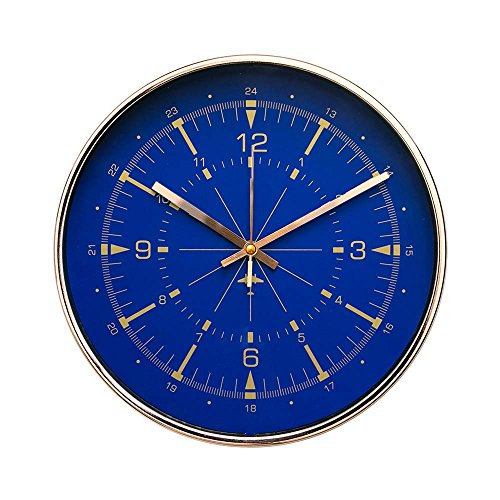 "Luxury Modern 12"" Silent Non-Ticking Wall Clock with Rose Gold Frame (Aviator Compass Blue) (Luxury Compass)"