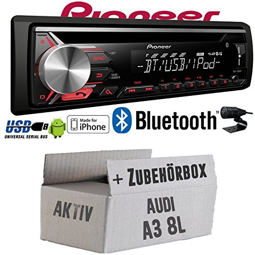 Audi A3 8L AKTIV - Pioneer DEH-3900BT - Bluetooth | CD | MP3 | USB | Android - iPhone Autoradio - Einbauset JUST SOUND best choice for caraudio