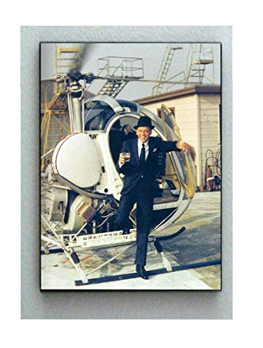 Telesca Rare Framed Frank Sinatra with Cocktail Drink Booze Helicopter Vintage Photo. Jumbo Giclée Print