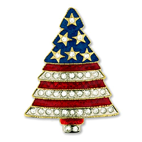 PinMart's Rhinestone Patriotic Christmas Tree Holiday Brooch Pin