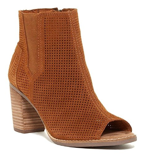TOMS Women's Lunata Bootie Cinnamon Suede Perforated 8.5 B US