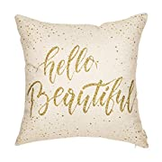 Fjfz Hello Beautiful Motivational Sign Inspirational Quote Cotton Linen Home Decorative Throw Pillow Case Cushion Cover for Sofa Couch, 18  x 18