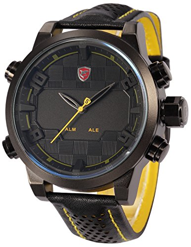 Shark Mens Fashion Digital LED Date Day Alarm Black Leather Quartz Sport Watch SH204 Yellow