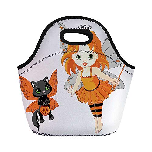 Halloween Durable Lunch Bag,Halloween Baby Fairy and Her Cat in Costumes Butterflies Girls Kids Room Decor Decorative for School Office,11.0