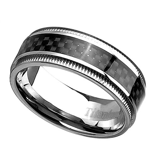 8mm Men's Titanium Ring Wedding Band High Polish Checkered Step Edge Black Carbon Fiber size 8 SPJ Checkered Band Ring