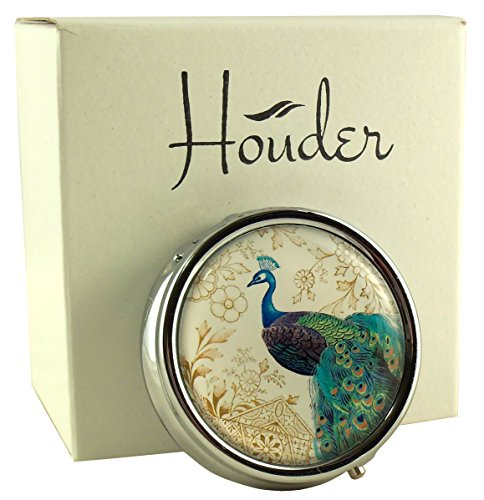 (Houder Designer Pill Box Decorative Pill Case with Gift Box - Carry Your Meds in Style (Peacock))