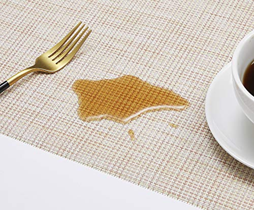 DOLOPL Placemat Placemats Waterproof Beige Placemats Set of 6 Crossweave Woven Vinyl Laminated Table Mat Easy to Clean Heat Resistant Wipeable Spring Placemats for Dining Table - ►Enviromental Meterial:The placemat is FDA approved eco-friendly kitchen accessories,these table placemats are made of high quality PVC and jelly, it's durable and waterproof better, non-fading. [Due to the influence of the waterproof film for the table mats, it's normal for the beige placemats to have an odor. Please place it for one day(it's better) after receiving the wipeable placemats.] ►100%Waterproof and Easy to Clean:the placemats' back of jelly, the kitchen table placemats are waterproof, also these stain proof placemats are easy to clean, just using the wet cloth or towel to wipe off when the table mats have some liquids, or go head to wash the Christmas placemats with soft brush after you finished a BBQ or meal time. ►Heat Resistant Placemats:these set of 6 placemats are heat insulation, resistant to combustion, acid-base, wear-resistant and has good warmth and elasticity. Please make sure your plates are ≤212℉(100℃),it's awsome to protect your wood, glass or other material table. - placemats, kitchen-dining-room-table-linens, kitchen-dining-room - 51KTOBWoADL -