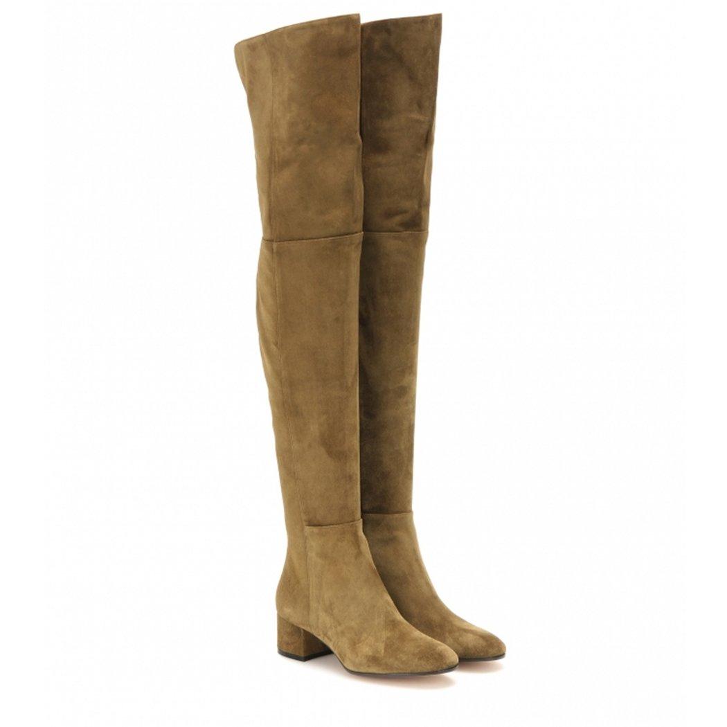 Fashion Thigh high Boots Elegant Knee Boots Chunky Heels Warm Fur Lining Winter Knee Boots 2018 B07DNYQXF1 8.5 B(M) US|Army Green