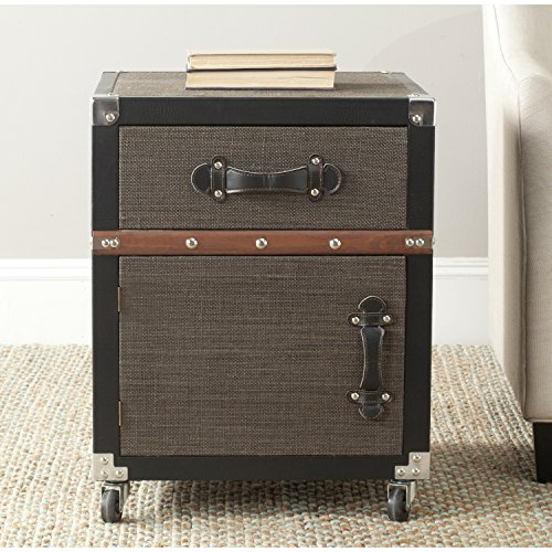 Safavieh Home Collection Joel Black, Brown & Silver Rolling - Bombe Trunk Table