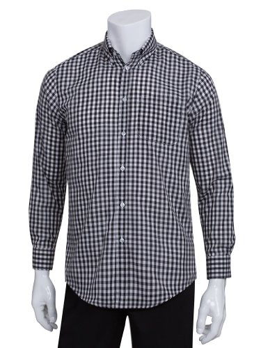 Chef Works Men's Uniforms Mens Gingham Dress Shirt, Black Gingham, Small by Chef Works Men's Uniforms