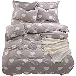 BuLuTu Girls Bedding Duvet Cover Sets Queen Cotton Love Print 3 Pieces Reversible Kids Duvet Cover Full Light Brown,Home Summer Bed Comforter Cover with Zipper,Breathable,Lightweight,NO Comforter