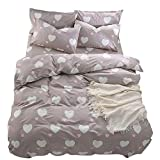 BuLuTu Girls Bedding Duvet Cover Sets Twin Cotton Love Print 3 Pieces Reversible Kids Duvet Cover Twin Light Brown,Summer Single Bed Comforter Cover with Zipper,Breathable,Lightweight,NO Comforter