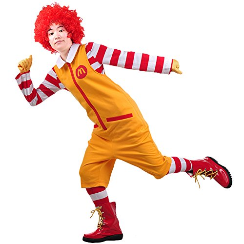 Ronald McDonald Cosplay Costume Outfit Suit for Hallowween XL -