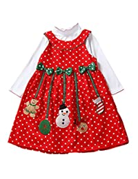 Happy Cherry Baby-girls Polka Dot Bowknot Christmas Outfit Dress Toddler Skirt 1-7T