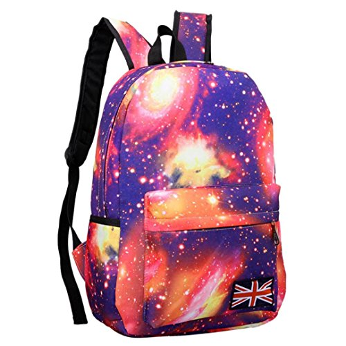 Aurorax Unisex Galaxy Pattern Canvas Backpack Casual Shoulde