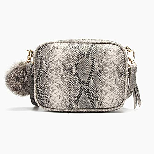 Multi Purpose Square Crossbody Bag, Techcircle Snake Skin Faux Leather Cell Phone Wallet with Detachable Fur Ball, Travel Toiletry Bag Zipper Makeup Pouch Clutch Purse for Women, Snakeskin Pattern